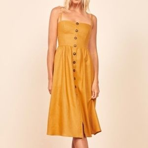 Reformation Tori Midi Dress Ochre Yellow 6 Linen